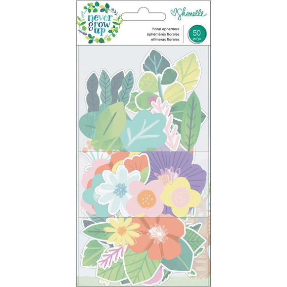 Scrapbooking  Shimelle Never Grow Up Ephemera Cardstock Die-Cuts 50/Pkg Floral thickers