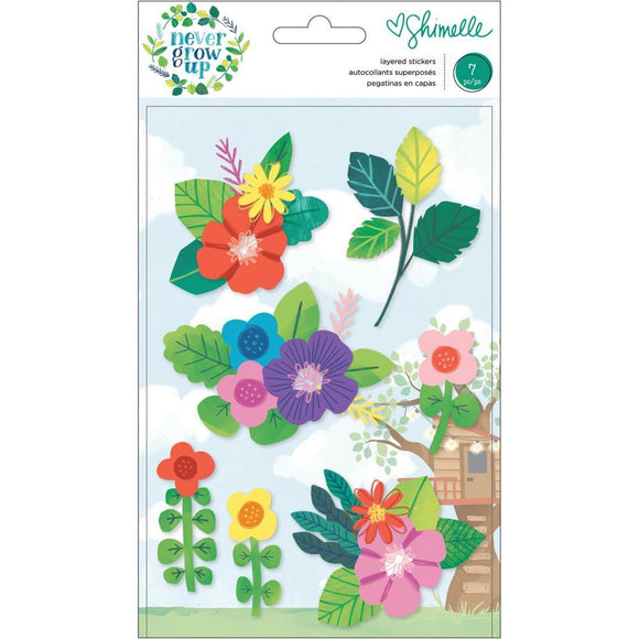Scrapbooking  Shimelle Never Grow Up Layered Stickers 7/Pkg thickers