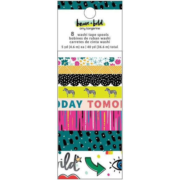 Scrapbooking  Amy Tan Brave & Bold Washi Tape 8/Pkg washi