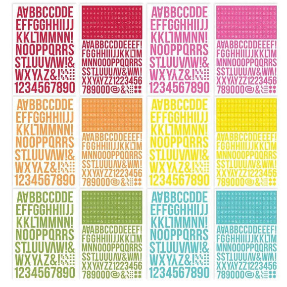 Scrapbooking  Simple Stories Color Vibe Alpha Sticker Book 12/Sheets Brights, 1758/Pkg Alphas