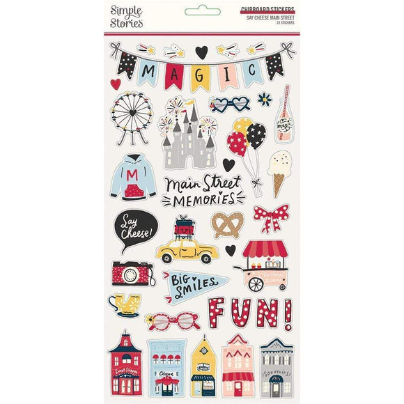 Scrapbooking  Say Cheese Main Street Chipboard Stickers 6