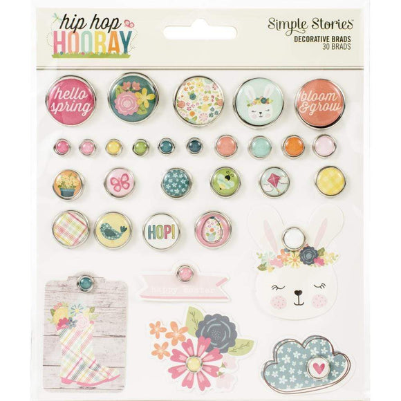 Scrapbooking  Hip Hip Hooray Decorative Brads 30/Pkg Embellishments