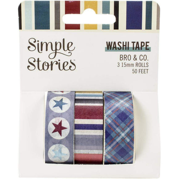 Scrapbooking  Simple Stories Bro & Co. Washi Tape 3/Pkg Paper 12