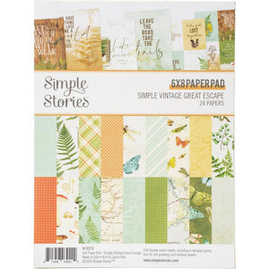 "Scrapbooking  Simple Vintage Great Escape Double-Sided Paper Pad 6""X8"" 24/Pkg Paper 12""x12"""