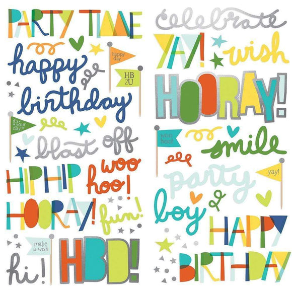 Scrapbooking  Birthday Blast Foam Stickers 70/Pkg Paper 12x12
