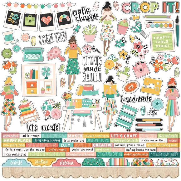 Scrapbooking  Hey, Crafty Girl Cardstock Stickers 12