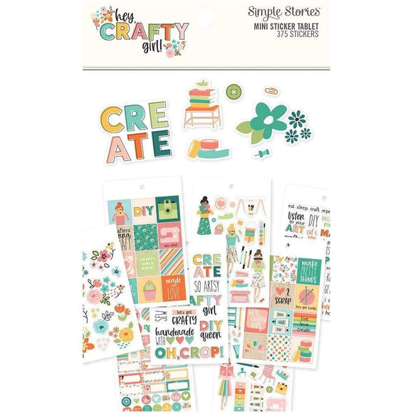 Scrapbooking  Hey, Crafty Girl Mini Sticker Tablet 375/Pkg Paper 12x12