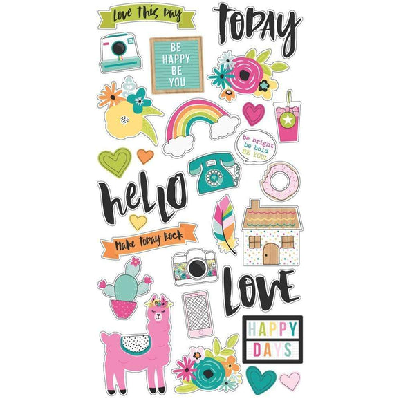 Scrapbooking  Oh Happy Day Chipboard Stickers 6