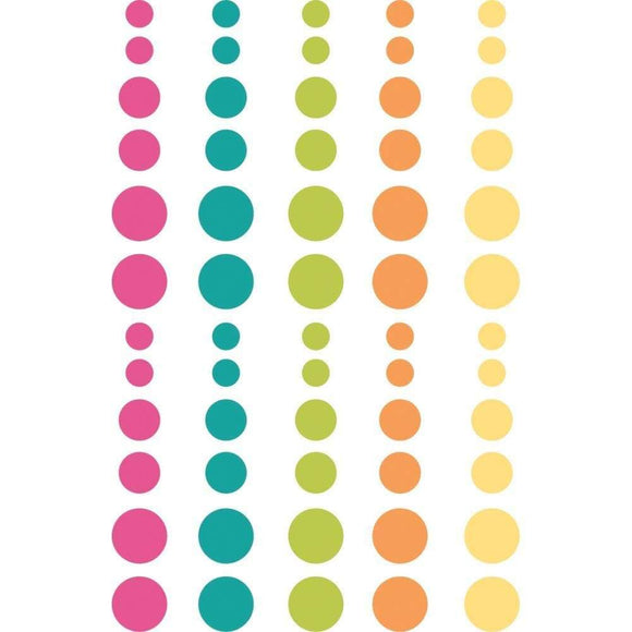 Scrapbooking  Oh Happy Day Enamel Dots Embellishments 60/Pkg Paper 12x12