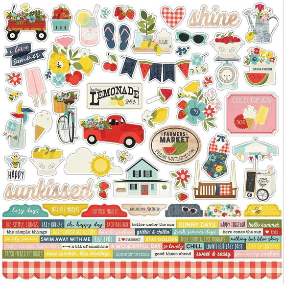 Scrapbooking  Summer Farmhouse Cardstock Stickers 12