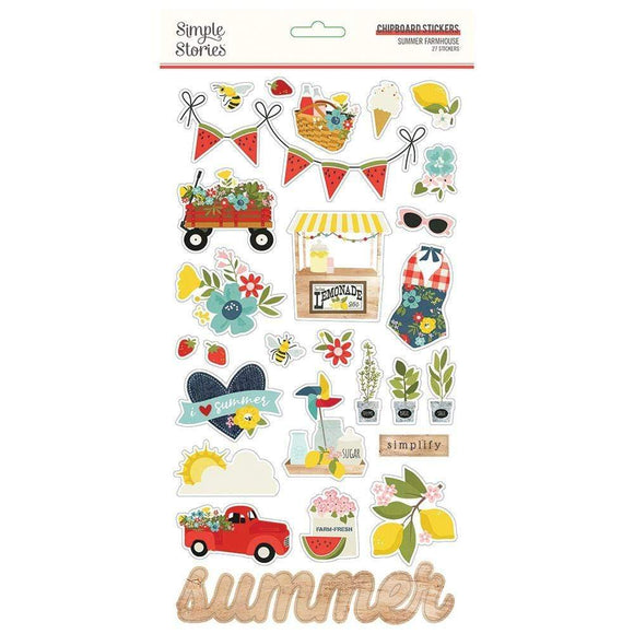 Scrapbooking  Summer Farmhouse Chipboard Stickers 6