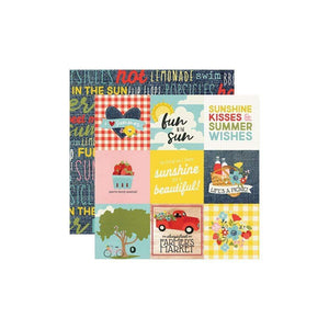 "Scrapbooking  Summer Farmhouse Double-Sided Cardstock 12""X12"" - 4x4 Elements Paper 12x12"
