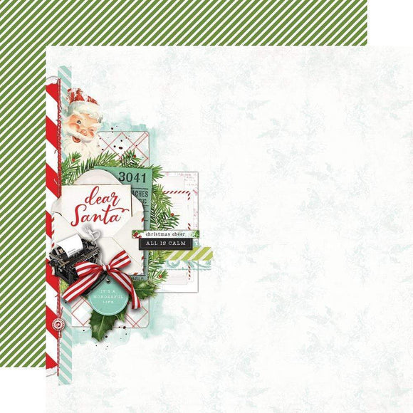Scrapbooking  Simple Vintage North Pole Double-Sided Cardstock 12
