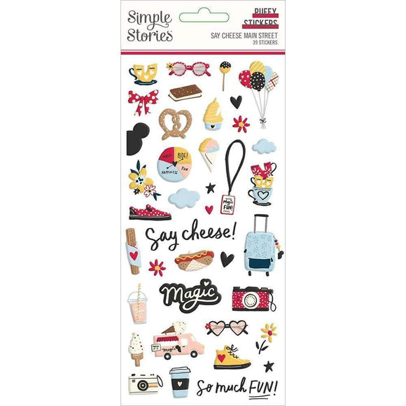Scrapbooking  Say Cheese Main Street Puffy Stickers 39/Pkg Puffy Stickers