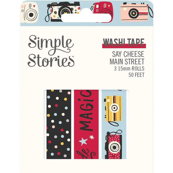 Scrapbooking  Simple Stories Say Cheese Main Street Washi Tape 3/Pkg Puffy Stickers