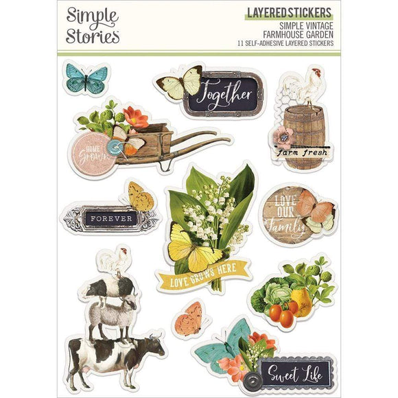 Scrapbooking  Simple Vintage Farmhouse Garden Layered Stickers 11/Pkg stickers