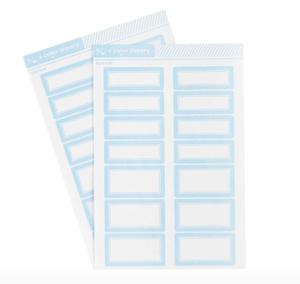 Scrapbooking  Color Theory Label Stickers - Clear Blue Alphas
