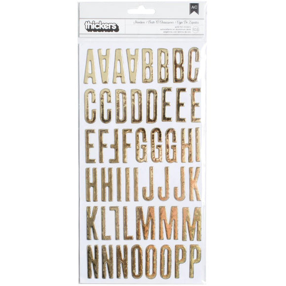 Scrapbooking  Clearly Posh Gold Foil Thickers Alpha Stickers 5.5