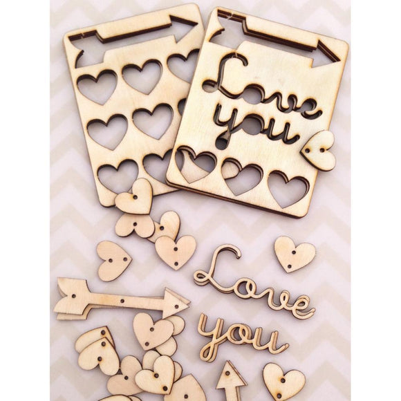 Scrapbooking  Cosmo Cricket Mini Wood Heart Charms Embellishments