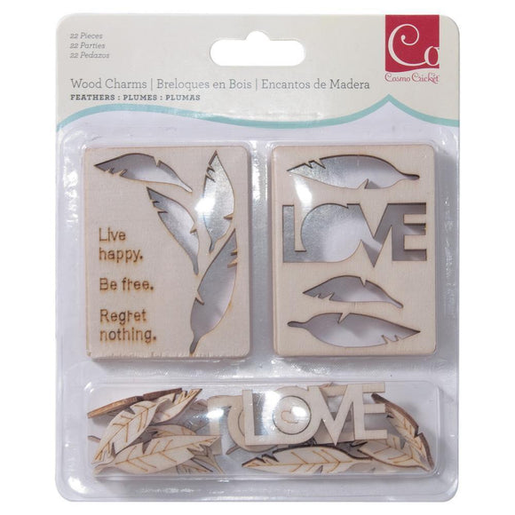 Scrapbooking  Cosmo Cricket Wood Charms Feathers Embellishments