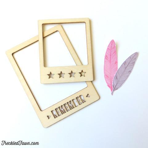 Scrapbooking  Freckled Fawn Wood Chips Frames Remember Embellishments