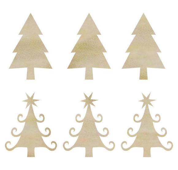 Scrapbooking  Kaisercraft Mini Christmas Trees Wood Flourish Embellishments