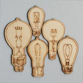 Scrapbooking  Maya Road Mini Eureka Light Bulb Wood Pieces Embellishments