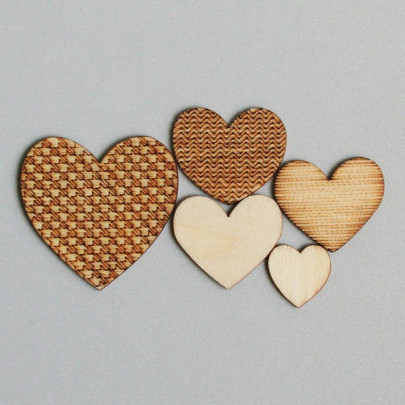 Scrapbooking  Maya Road Mini Love You Heart Wood Pieces Embellishments