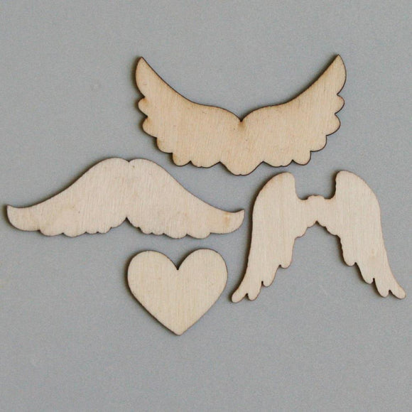 Scrapbooking  Maya Road Mini Wings Wood Pieces Embellishments