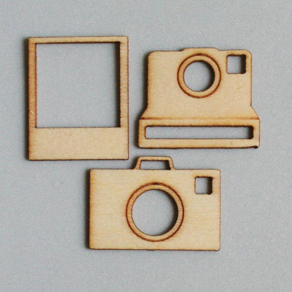 Scrapbooking  Maya Road Say Cheese Mini Wood Pieces Cameras Embellishments