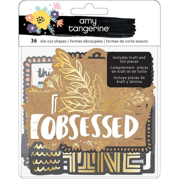 Scrapbooking  Amy Tan Shine On Ephemera Die-Cuts 36/Pkg Cardstock W/Holographic Foil Accents Ephemera