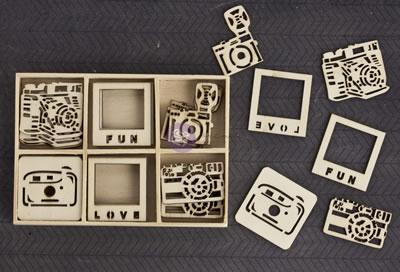 Scrapbooking  Wood Icons in a Box Cameras Mixed Media