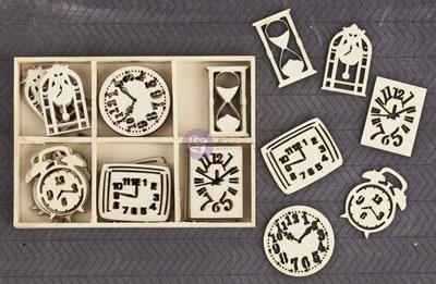 Scrapbooking  Wood Icons in a Box Clocks Mixed Media