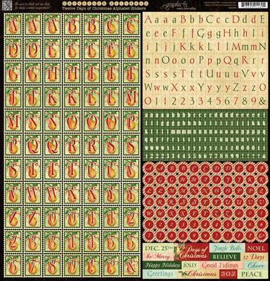 Scrapbooking  12 Days of Christmas Alphabet Stickers Paper Collections 12x12