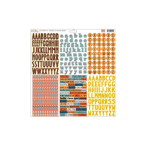 Scrapbooking  77 Collection 12x12 Alphabet and Words Sticker Sheet Paper Collections 12x12