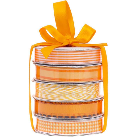 Scrapbooking  American Crafts Premium Ribbon & Twine 5-Packs -Spring Orange Paper Collections 12x12
