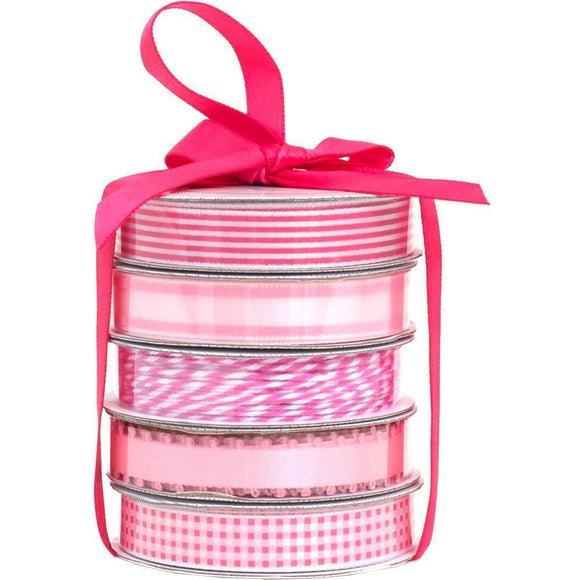 Scrapbooking  American Crafts Premium Ribbon & Twine 5-Packs -Spring Pink Paper Collections 12x12