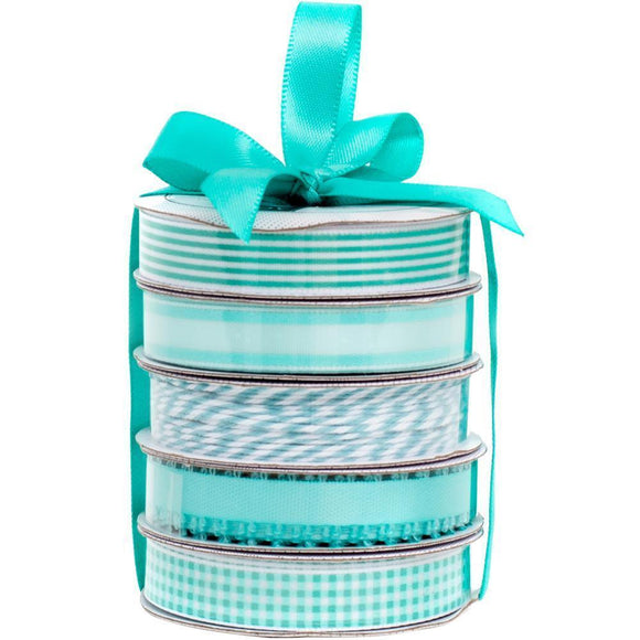 Scrapbooking  American Crafts Premium Ribbon & Twine 5-Packs -Spring Teal Paper Collections 12x12