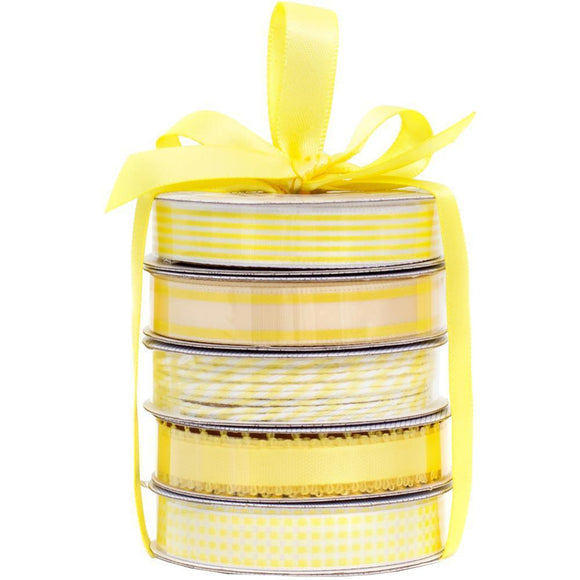 Scrapbooking  American Crafts Premium Ribbon & Twine 5-Packs - Spring Yellow Paper Collections 12x12
