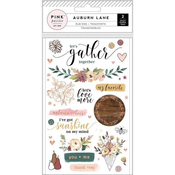 Scrapbooking  Auburn Lane Rub-Ons 2/Pkg Paper Collections 12x12