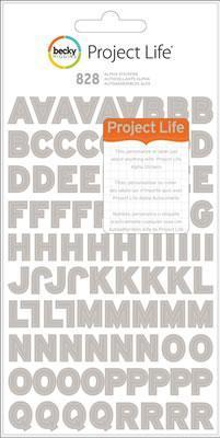 Scrapbooking  Becky Higgins Project Life Alphabet Stickers Grey 8 Sheets Paper Collections 12x12