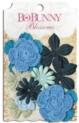 Scrapbooking  Blossoms Denim Blue Bouquet Paper Collections 12x12