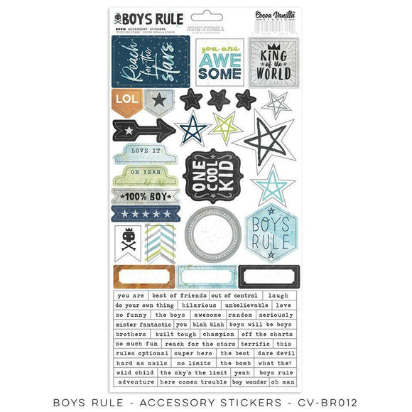 Scrapbooking  Boys Rule - Accessory Stickers 6x12 Paper Collections 12x12