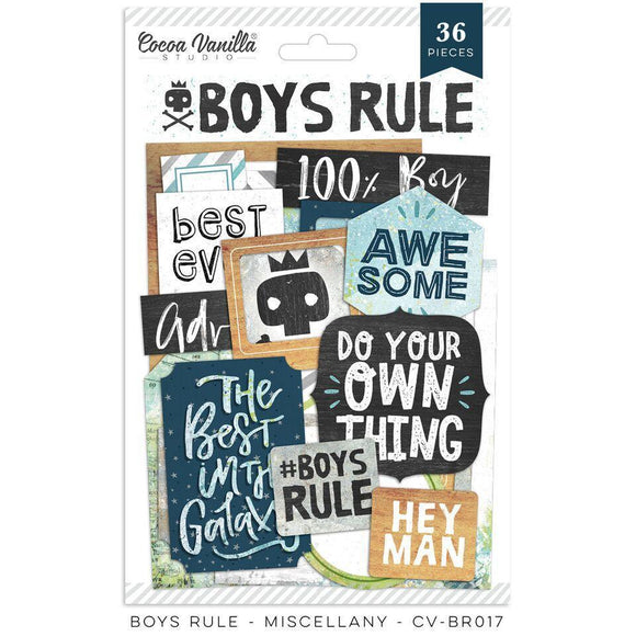 Scrapbooking  Boys Rule - Miscellany Ephemera Pack 36pk Paper Collections 12x12