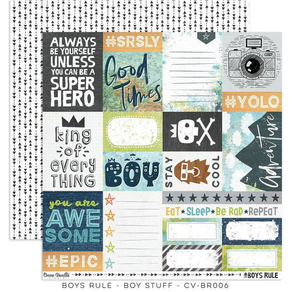 Scrapbooking  Boys Rule Paper 12x12 Double Sided - Boy Stuff Paper Collections 12x12