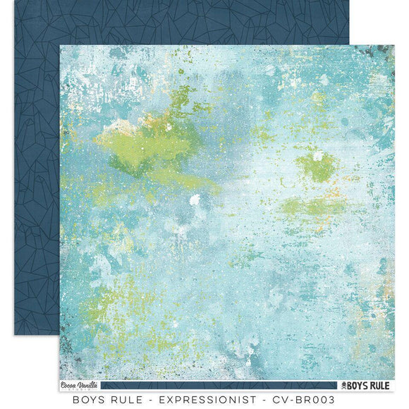 Scrapbooking  Boys Rule Paper 12x12 Double Sided - Expressionist Paper Collections 12x12