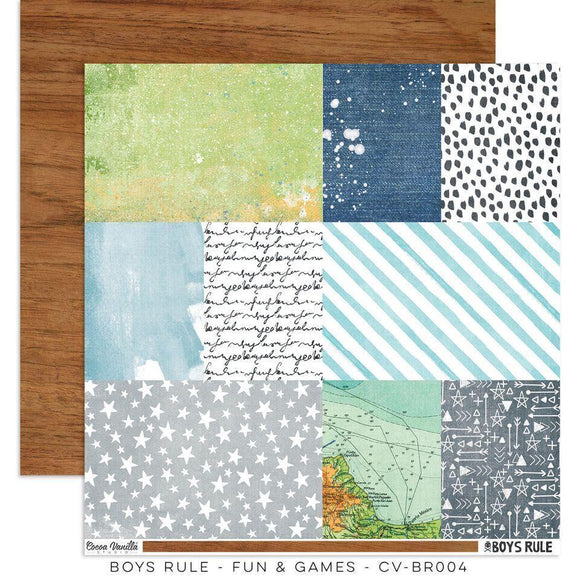 Scrapbooking  Boys Rule Paper 12x12 Double Sided - Fun & Games Paper Collections 12x12