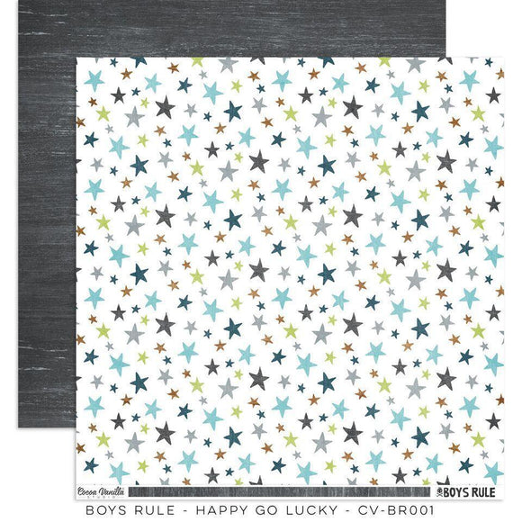 Scrapbooking  Boys Rule Paper 12x12 Double Sided - Happy Go Lucky Paper Collections 12x12