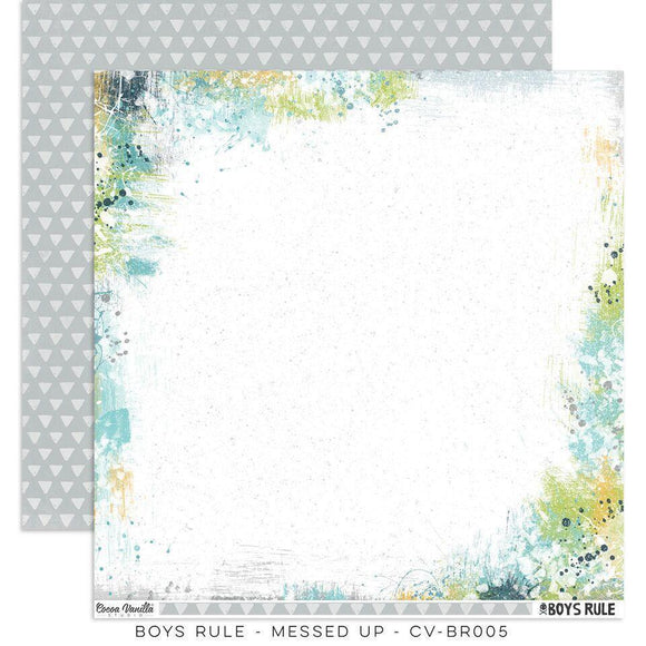 Scrapbooking  Boys Rule Paper 12x12 Double Sided - Messed Up Paper Collections 12x12