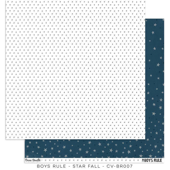 Scrapbooking  Boys Rule Paper 12x12 Double Sided - Star Fall Paper Collections 12x12